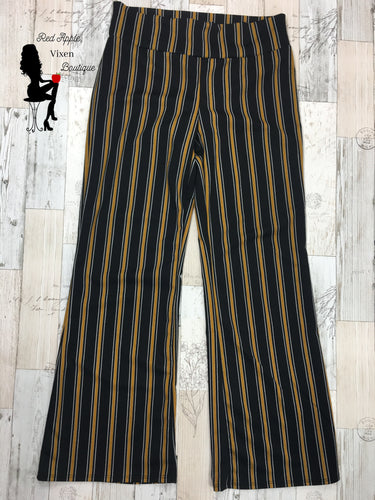 Black and Gold Striped Pants - Sassy Chick Clothing