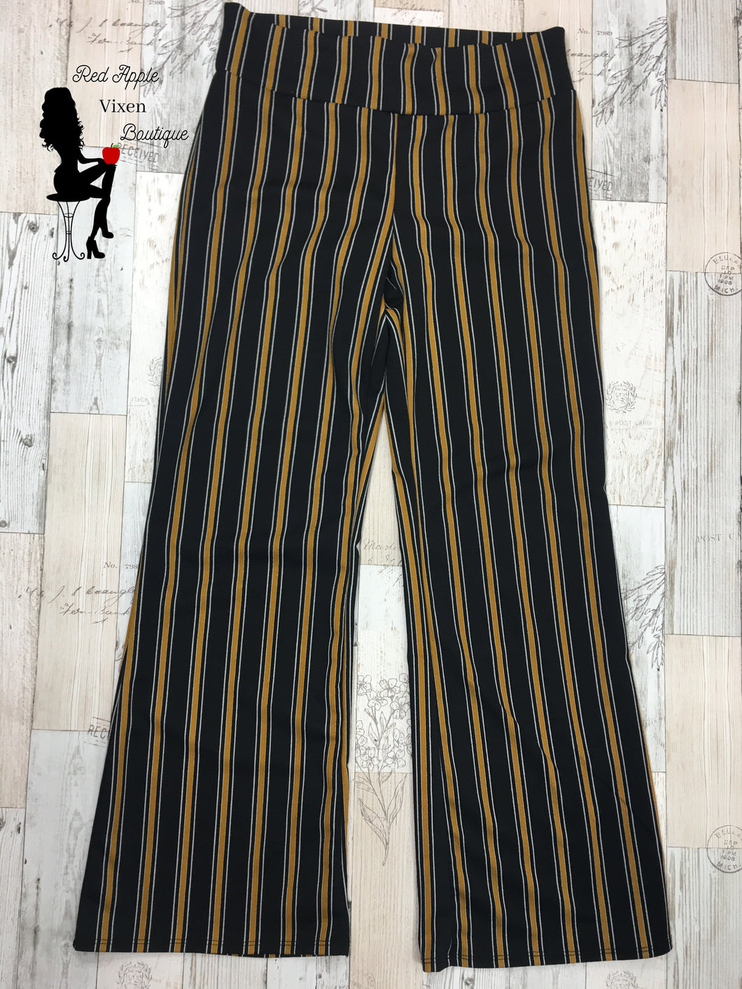 Black and Gold Striped Pants - Red Apple Vixen Boutique