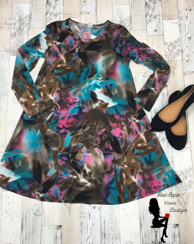 Brown Teal and Pink Tie Dye Dress - Red Apple Vixen Boutique