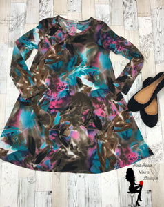 Brown Teal and Pink Tie Dye Dress - Sassy Chick Clothing