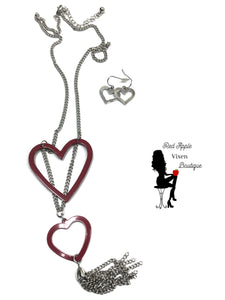 Double Heart Pendant Necklace - Red Apple Vixen Boutique