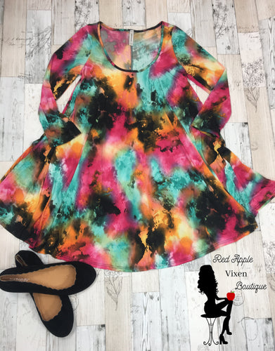 Splatter Dye Dress - Sassy Chick Clothing