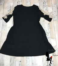 Load image into Gallery viewer, Solid Black Dress with Lace Cut Out Three Quarter Length Sleeves - Sassy Chick Clothing