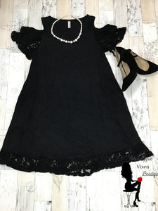 Lace Cold Shoulder Solid Black Dress - Sassy Chick Clothing
