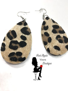 Fuzzy Animal Print Earrings - Sassy Chick Clothing