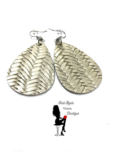 Light Gold colored Basket Weave Faux Leather Earrings - Sassy Chick Clothing