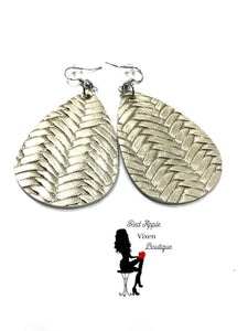 Light Gold colored Basket Weave Faux Leather Earrings - Red Apple Vixen Boutique