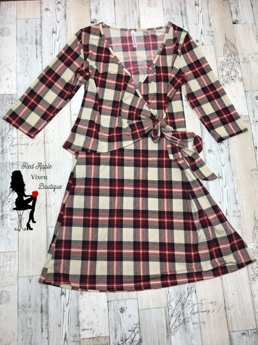 Red and Cream Plaid Wrap Dress - Sassy Chick Clothing