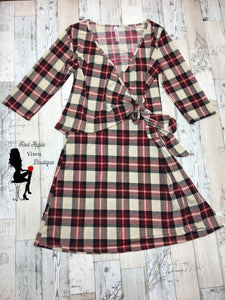 Red and Cream Plaid Wrap Dress - Red Apple Vixen Boutique