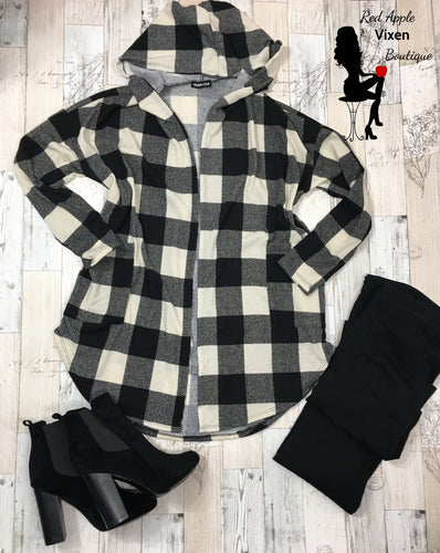 Black and Ivory Check Hooded Cardigan