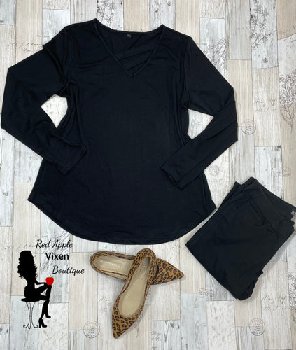 Solid Black Long Sleeve Tunic with Cut Out Neckline