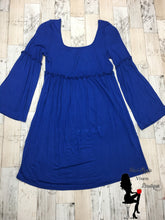 Load image into Gallery viewer, Solid Blue Bell Sleeve Dress - Red Apple Vixen Boutique