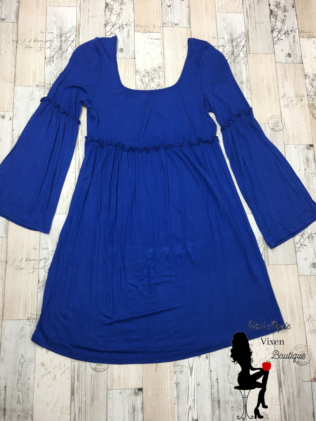 Solid Blue Bell Sleeve Dress - Sassy Chick Clothing