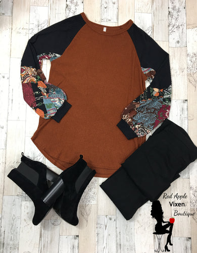 Boho Print Raglan Bubble Sleeve Top