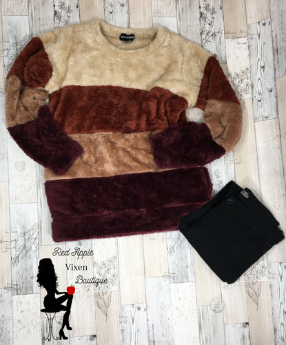 Brown and Burgundy Striped Fuzzy Sweater