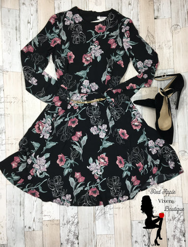 Black Floral Long Sleeve Dress - Sassy Chick Clothing