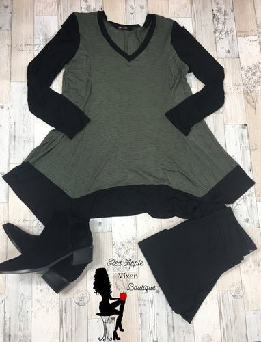 Loose fit Olive and Black Tunic - Sassy Chick Clothing