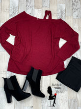 Load image into Gallery viewer, Burgundy Cold Shoulder Sweater