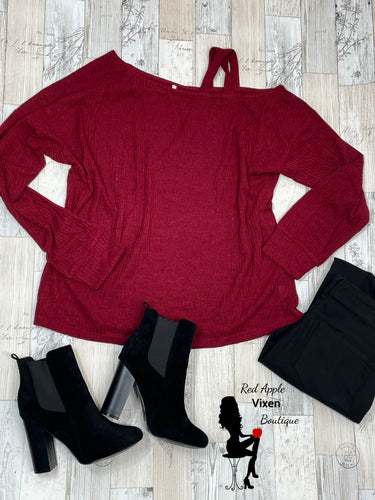 Burgundy Cold Shoulder Sweater
