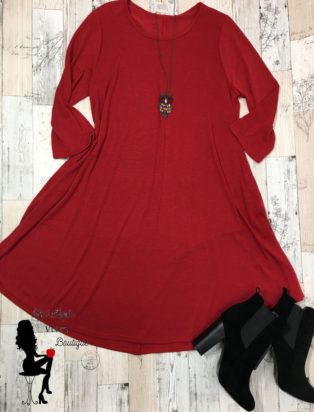 Solid Red Knit A-Line Dress - Sassy Chick Clothing