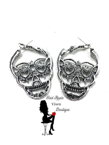 Antique Silver Colored Skull Hoops - Sassy Chick Clothing