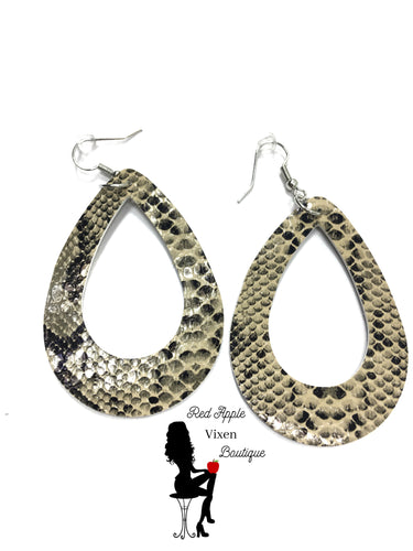 Leather Snake Skin Print Earrings - Sassy Chick Clothing
