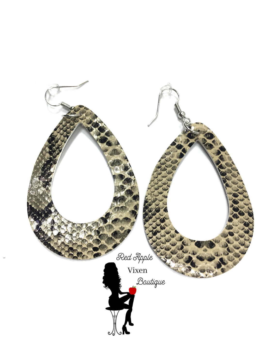 Leather Snake Skin Print Earrings - Red Apple Vixen Boutique