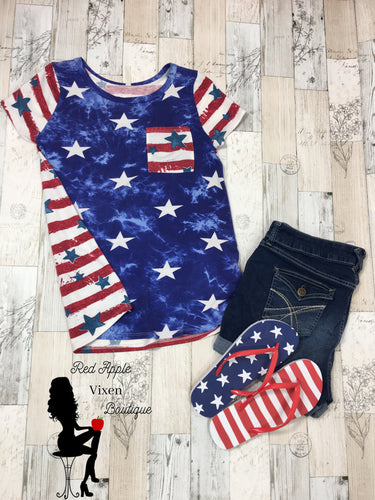 Lightweight Sweater material Stars and Stripes - Red Apple Vixen Boutique