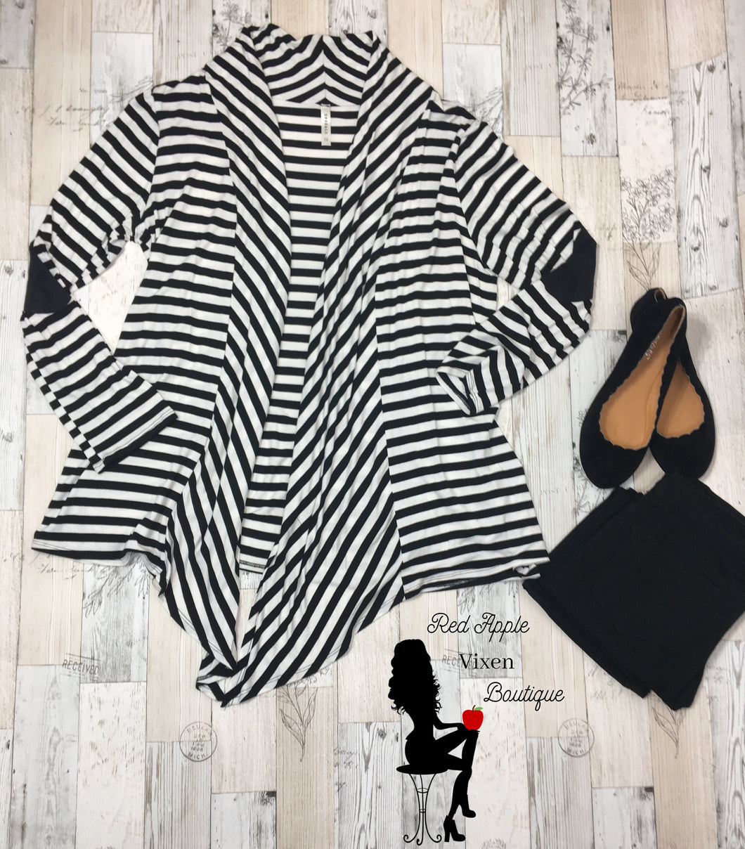 Plus Size Long Sleeves Stripe Cardigan with Suede Elbow Patch - Sassy Chick Clothing