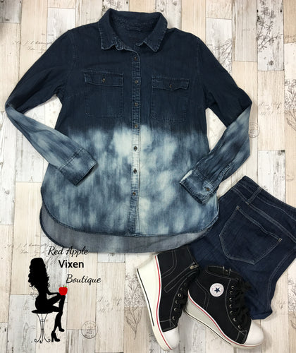 Upcycled Hand Bleached Dark Wash Denim Button Up Shirt