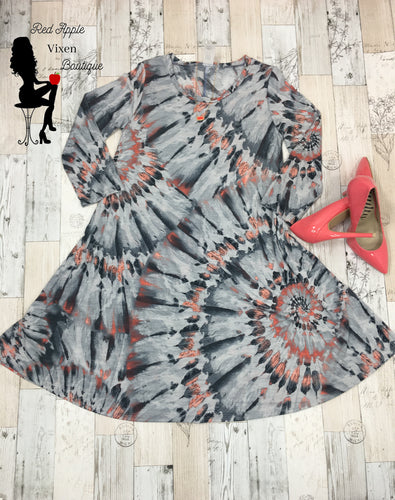 Grey and Peach Swirl Tie Dye Dress - Sassy Chick Clothing