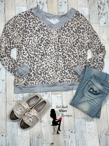 Grey and Peach Leopard Print Sweatshirt