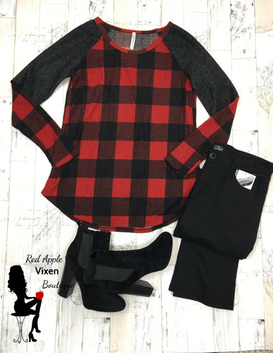 Grey, Red and Black Gingham Sweater
