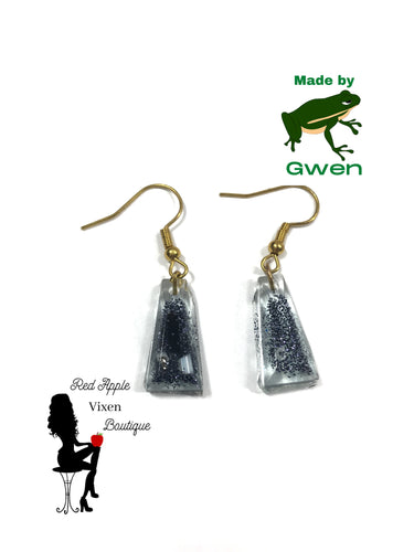 Clear with Black Sparkle Trapezoid Dangle Earrings