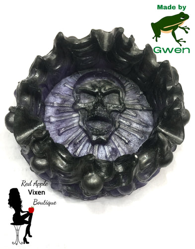 Black and Purple Resin Skull Trinket Tray