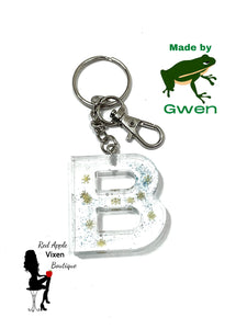 Letter B Resin Key Chain