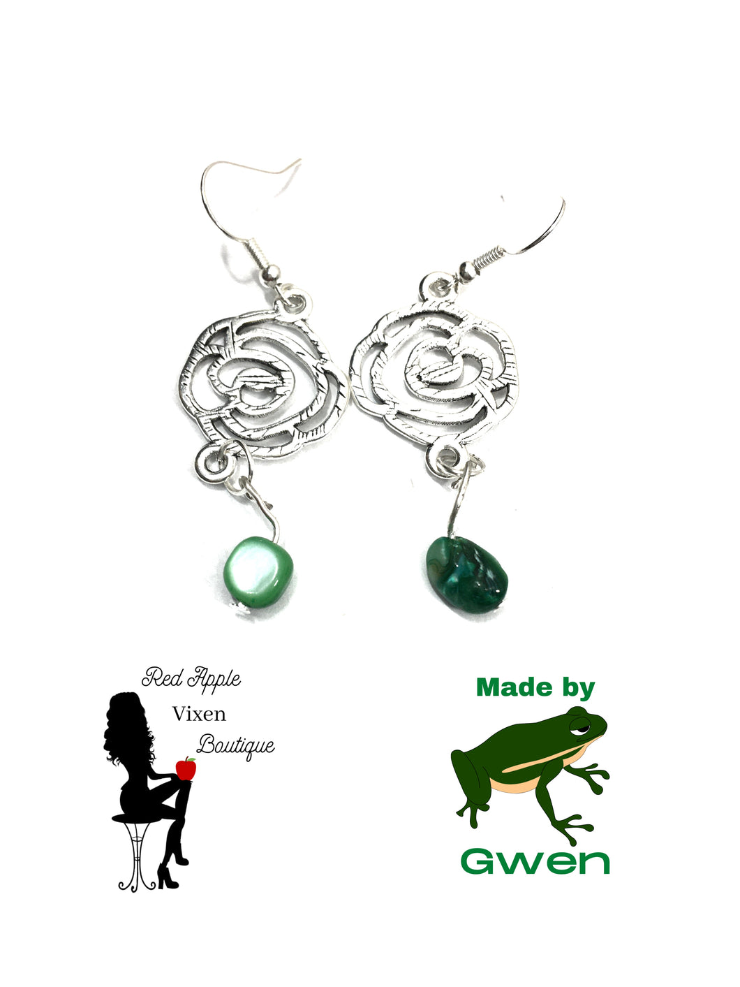 Cut Out Rose Earrings with Green Stones - Sassy Chick Clothing