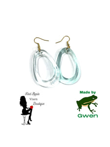 Transparent Light Blue Hollow Oval Dangle Earrings