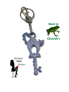 Cat and Key Keychain