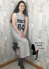 Load image into Gallery viewer, Black and White Striped Maxi Dress