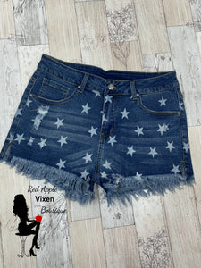 Star Print Distressed Denim Shorts