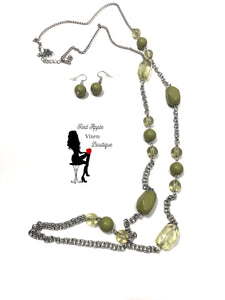 Long Green Beaded Necklace and Matching Earrings