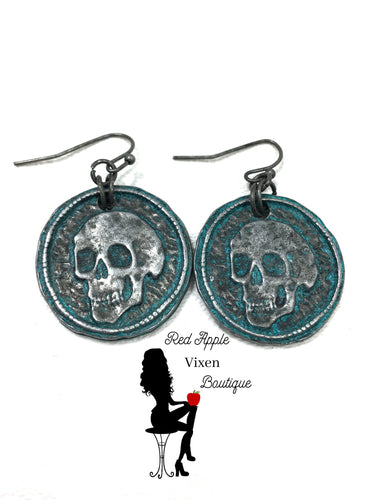 Skull Medallion Earrings - Sassy Chick Clothing