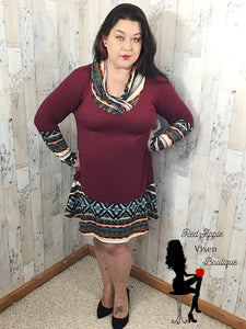 Burgundy and Aztec Print Dress - Sassy Chick Clothing