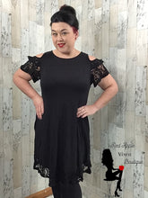 Load image into Gallery viewer, Lace Cold Shoulder Solid Black Dress - Sassy Chick Clothing