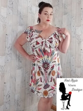Load image into Gallery viewer, Off Shoulder Feather Print Ruffle Sleeve Summer Dress - Red Apple Vixen Boutique