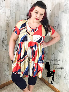 Multi Colored Geo Print Dress - Sassy Chick Clothing