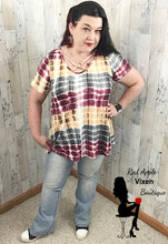 Load image into Gallery viewer, Burgundy Gray and Soft Yellow Tie Dye Top