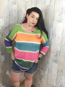 Loose Knit Multi Color Stripe Tunic  Plus