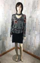 Load image into Gallery viewer, Drape Choker Neck Floral and Checker print top - Sassy Chick Clothing